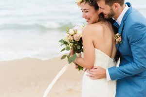 Groom hugging her bride from the back during prenup shoot